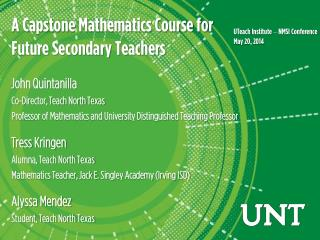 A Capstone Mathematics Course for  Future Secondary Teachers