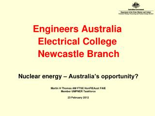 Engineers Australia Electrical College  Newcastle Branch