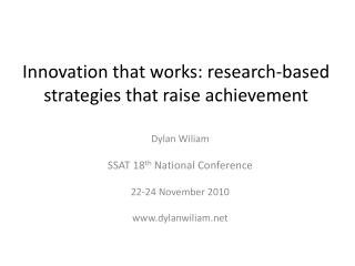 Innovation that works: research-based strategies that raise  achievement