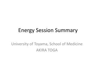 Energy Session Summary