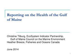 Reporting on the Health of the Gulf of Maine