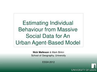 Estimating Individual Behaviour from Massive Social Data for  An Urban Agent-Based Model