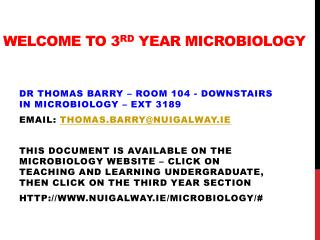 Welcome TO 3 Rd  Year Microbiology