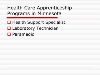 Health Care Apprenticeship Programs in Minnesota