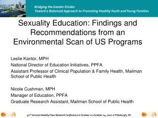 Sexuality Education: Findings and Recommendations from an Environmental Scan of US Programs