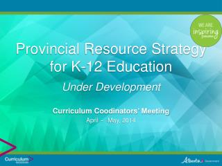 Provincial Resource Strategy for K-12 Education Under Development