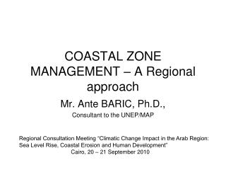 COASTAL ZONE MANAGEMENT – A Regional approach