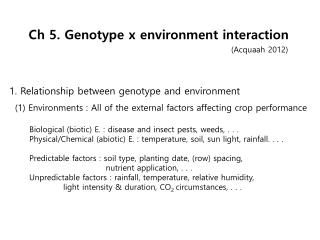 Ch  5. Genotype x environment interaction