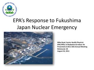 EPA's Response to Fukushima Japan Nuclear Emergency