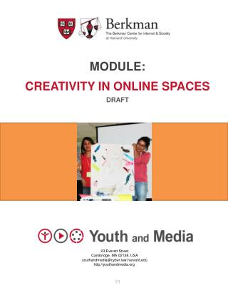 Module: Creativity in Online Spaces Draft