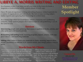 Libbye  A. Morris writing and editing