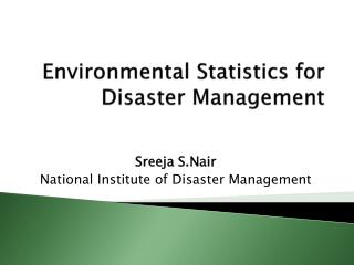 Environmental Statistics for Disaster Management