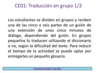 CE01:  Traducción en grupo 1/2