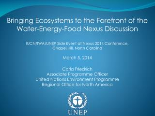 Bringing Ecosystems to the Forefront of the Water-Energy-Food Nexus Discussion
