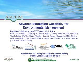 Advance Simulation Capability for Environmental Management
