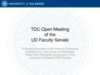TDC Open Meeting  of the  UD Faculty Senate