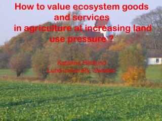 How to value ecosystem goods and services  in agriculture at increasing land use pressure ?  Katarina  Hedlund  Lund un