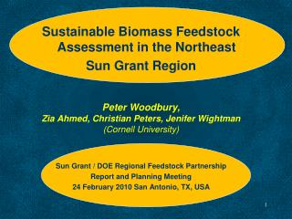 Sustainable Biomass Feedstock Assessment in the Northeast  Sun Grant Region Peter Woodbury, Zia Ahmed, Christian Peters