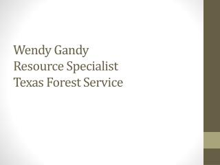 Wendy  Gandy Resource Specialist Texas Forest Service