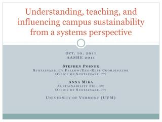 Understanding, teaching, and influencing campus sustainability from a systems perspective