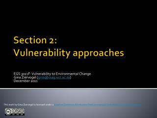 Section 2: Vulnerability approaches