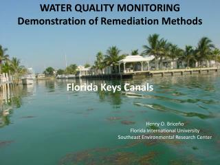 WATER QUALITY MONITORING Demonstration of Remediation Methods Florida Keys Canals Henry O. Briceño 					Florida Interna