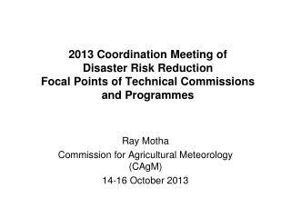 2013 Coordination Meeting of  Disaster Risk Reduction Focal Points of Technical Commissions and  Programmes