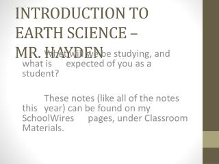 Introduction to Earth Science – Mr. Hayden
