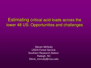 Estimating c ritical acid loads across the lower 48 US: Opportunities and challenges