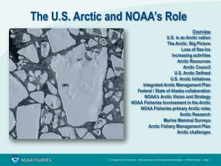 The U.S. Arctic and NOAA's Role