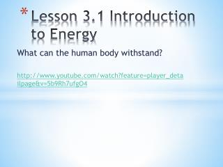 Lesson  3.1 Introduction to Energy
