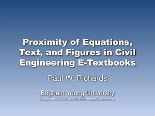 Proximity of Equations, Text, and Figures in Civil Engineering E-Textbooks