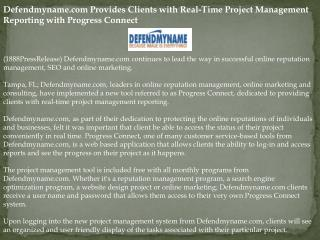 defendmyname.com provides clients with real-time project man