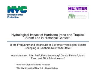 Hydrological Impact of Hurricane Irene and Tropical Storm Lee in Historical Context:
