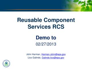 Reusable Component Services RCS