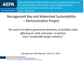 Narragansett Bay and Watershed Sustainability – Demonstration Project