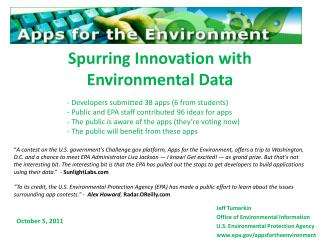 Spurring Innovation with Environmental Data
