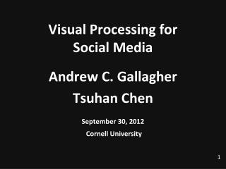 Visual Processing for  Social Media