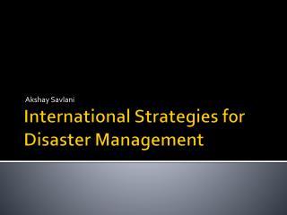 International Strategies for Disaster Management