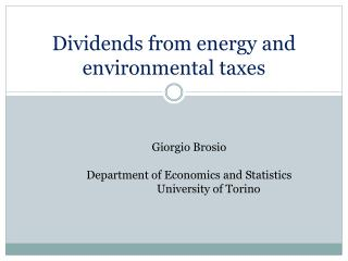 Dividends from energy  and  environmental taxes