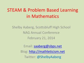 STEAM & Problem Based Learning in Mathematics