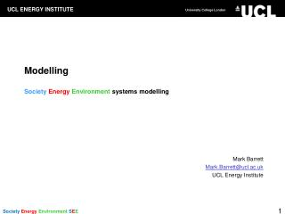 Modelling Society Energy  Environment  systems modelling