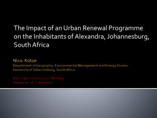 The Impact of an Urban Renewal Programme on the Inhabitants of Alexandra, Johannesburg, South Africa