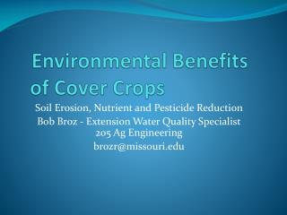 Environmental Benefits  of Cover Crops