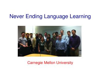 Never Ending Language Learning Carnegie Mellon University