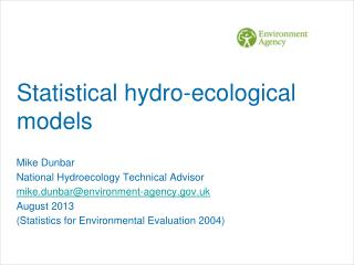 Statistical hydro-ecological models