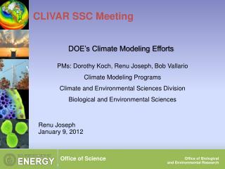 CLIVAR SSC Meeting