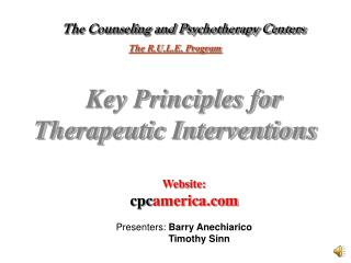 The Counseling and Psychotherapy Centers