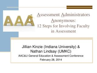A ssessment  A dministrators  A nonymous:  12 Steps for Involving Faculty in Assessment