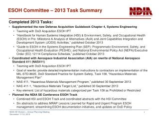 ESOH Committee – 2013 Task Summary
